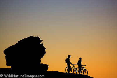 Mountain bikers on the Slick Rock Trail, Moab, Utah.