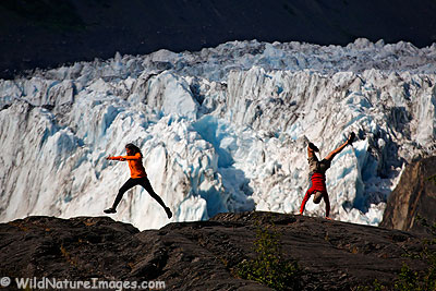 Having fun in front of Barry Glacier, Prince William Sound, Alaska.
