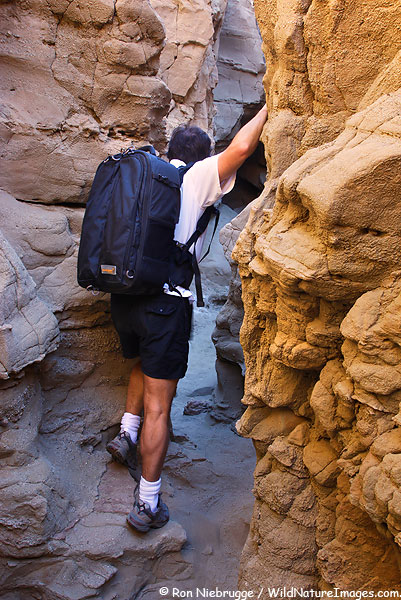 A self portrait of me in a slot canyon sporting my Kiboko camera bag by Gura Gear