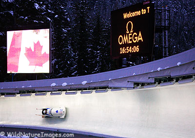 Bobsleigh or Bobsled at the Whistler Sliding Centre, Canada