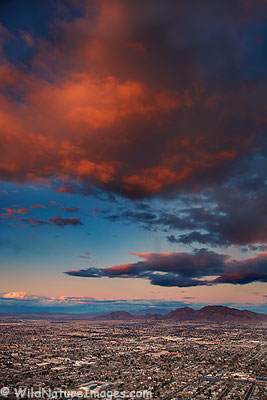 Sunset over the Las Vegas Valley, Nevada.