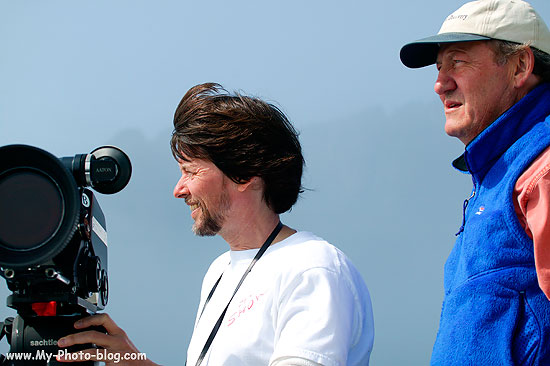Ken Burns with producer Dayton Duncan filming in Aialik Bay, Kenai Fjords National Park, Alaska.