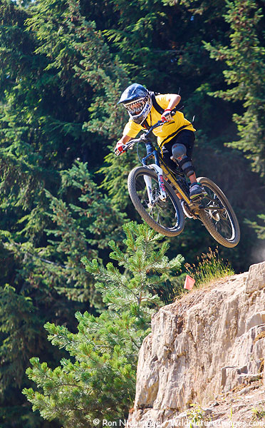 Mountain biker on the Bike Park, Whistler, Canada.