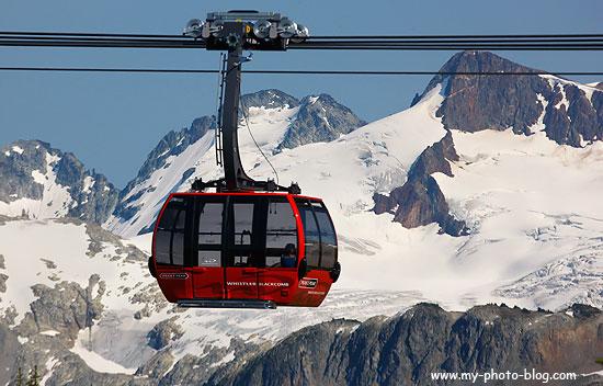 The Peak to Peak (acutally called Peak 2 Peak) trams runs between the tops of Whistler and Blackcomb Mountains.
