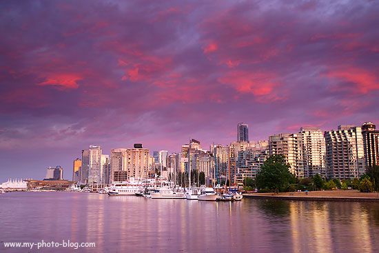 Vancouver skyline at sunset, Canada.