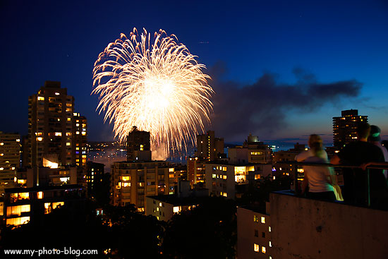 Fireworks over Vancouver, Canada.