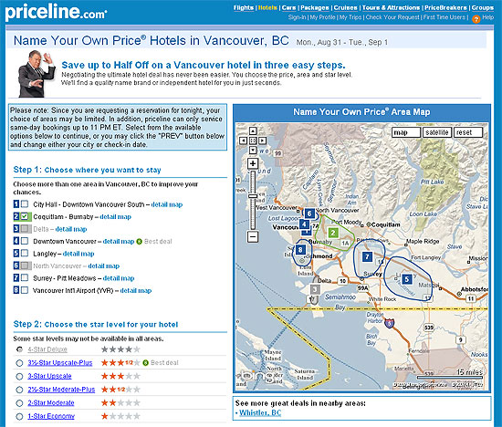 Notice how the 4 star choice is grayed out for the Coquitlam - Burnaby choice.
