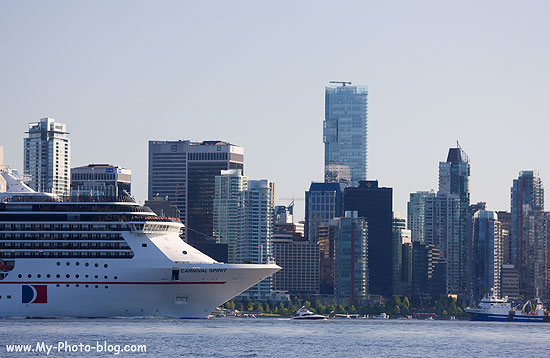 Carnival Cruise-Ship Carnival Spirt leaving Vancouver, Canada.