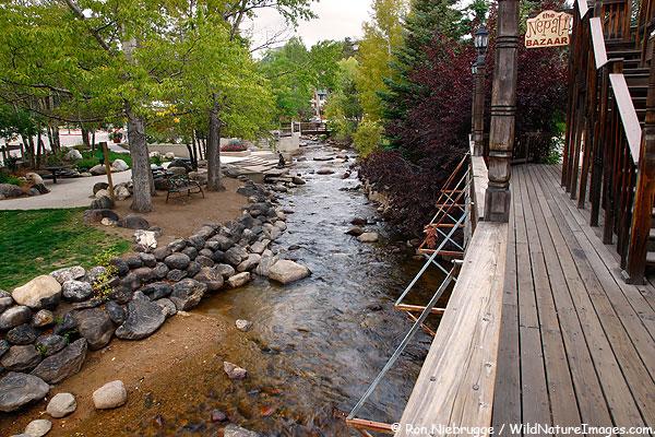 A park along the riverwalk, Estes Park, Colorado.