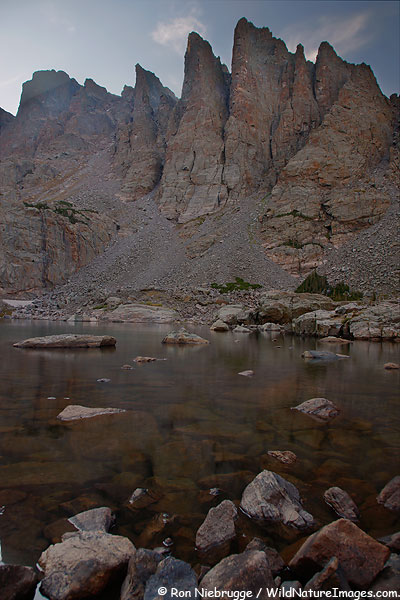 Sharktooths rising above Sky Pond, RMNP, Colorado.