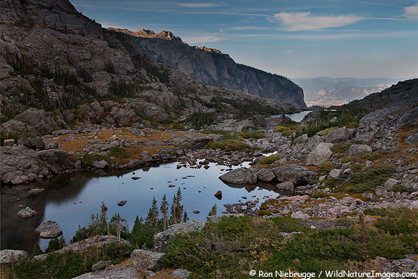 Sky Pond, with Lake of Glass in the distance, Rocky Mountain National Park, Colorado.