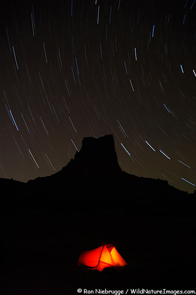 Star trails above our tent along the White Rim Trail, Canyonland National Park, Utah.