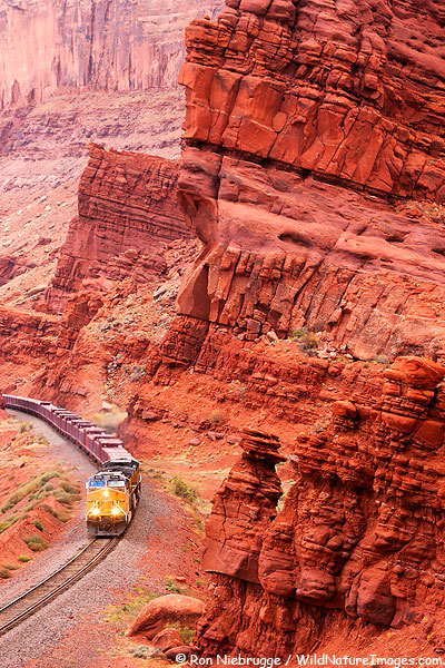 A train leaving Moab, Utah.
