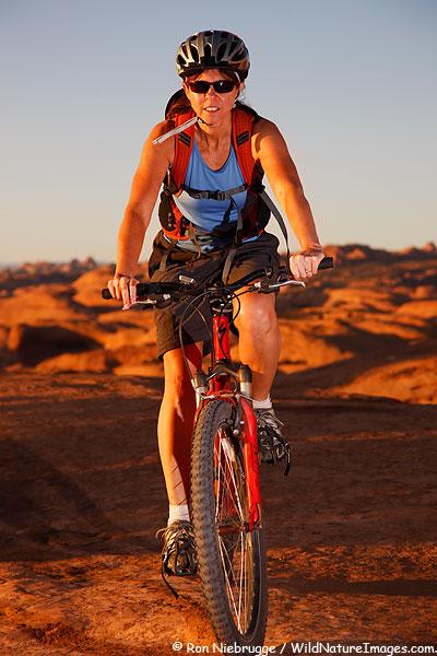 Mountain biking on the Slickrock Trail, Moab, Utah.