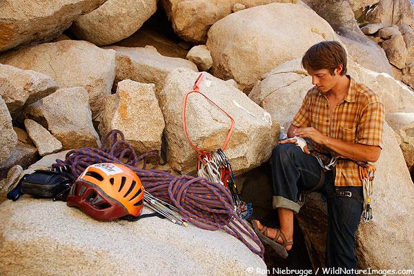 Matt Van Biene getting ready to climb, Joshua Tree National Park, California.