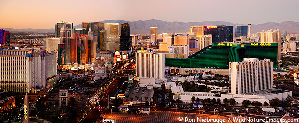 Panoramic photo of the Las Vegas Strip, Nevada.