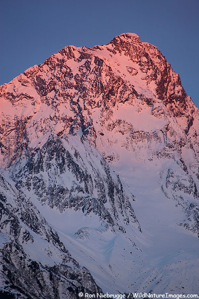 Alpenglow on Mt. Alice, Chugach National Forest, Seward, Alaska.