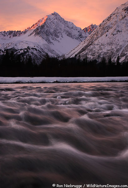 Resurrection River and Mt. Marathon, Seward, Alaska.