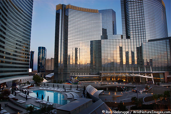 The pool of the Vdara along with the Aria Hotel and Casino, City Center, Las Vegas, Nevada.
