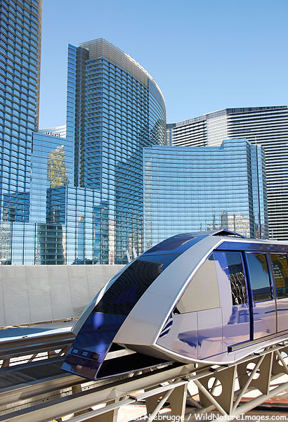 This tram connects the Bellagio and the Monte Carlo with the hotels and mall of City Center, Las Vegas.