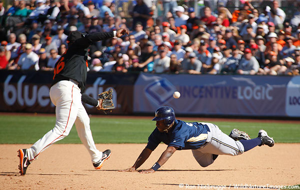 A wide throw lead to a succesful stolen base in yesterday's Giants game against the Milwaukee Brewers.