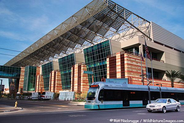 The light rail Valley Metro and Phoenix Convention Center North, Downtown Phoenix, Arizona