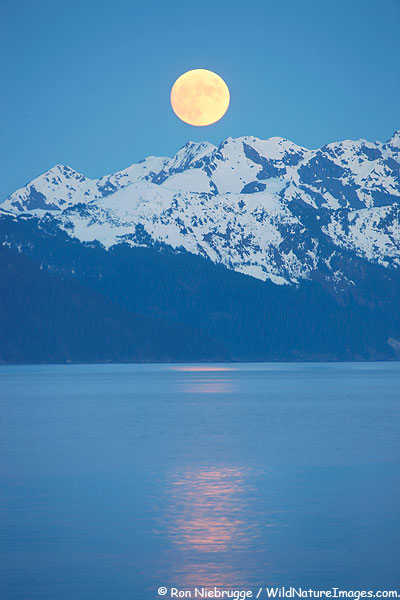 Moon over Resurrectoin Bay, Seward, Alaska.