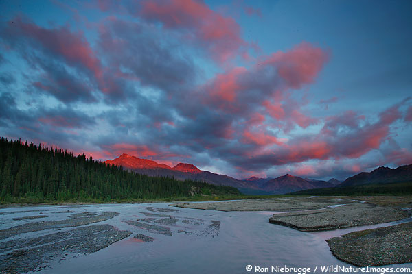 Sunset over the Teklanika River valley, Denali National Park, Alaska.