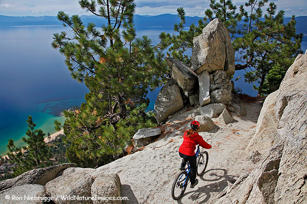 Janine mountain biking the Flume Trail, Lake Tahoe, Nevada.