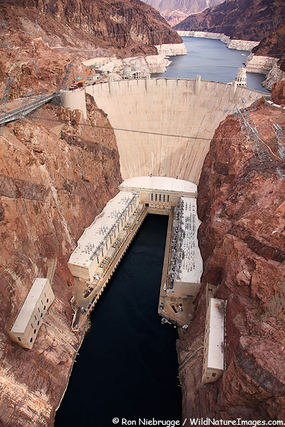 View of the Hoover Dam from the new bypass Bridge between Nevada and Arizona.