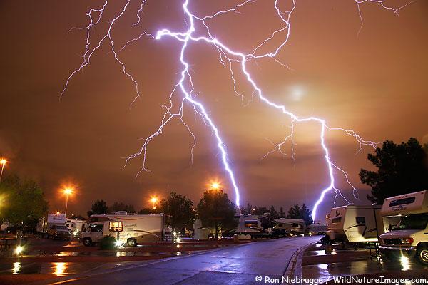 Lightning over Las Vegas, Nevada.