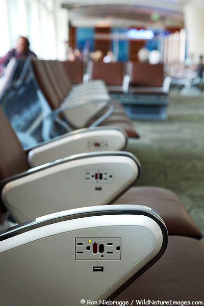 Seats in the waiting area of San Jose Airport.