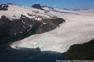 Aireal photo of Aialik-Glacier, Kenai Fjords National Park, Alaska.