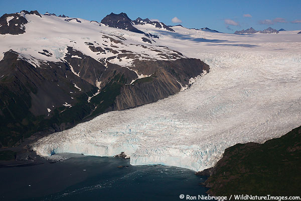 Aerial photo of Aialik-Glacier, Kenai Fjords National Park, Alaska.
