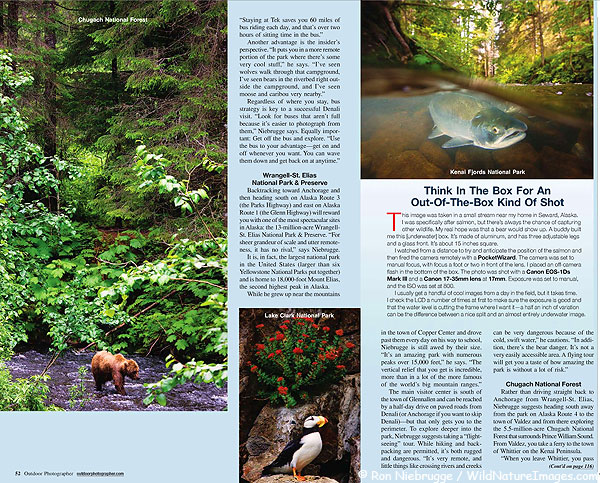 Outdoor Photographer feature pages 5 and 6.