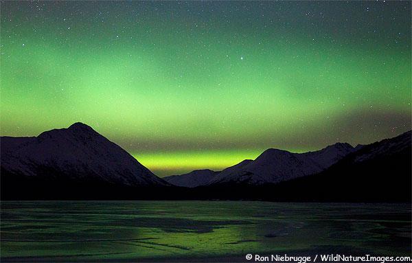 Aurora Borealis over Trail Lake, Moose Pass, Alaska.