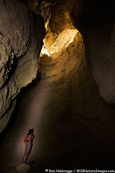 Janine in a mud cave, Anza-Borrego Desert State Park, California.