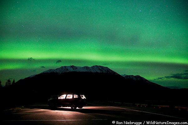 Watching northern lights, near Seward, Alaska.