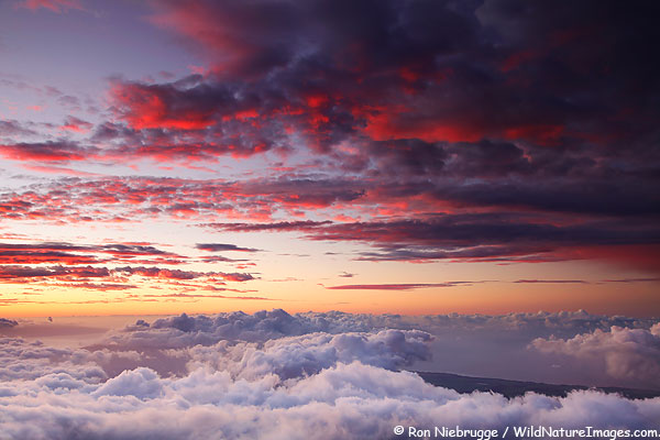 Sunset from Haleakala Summet, Haleakala National Park, Hawaii.