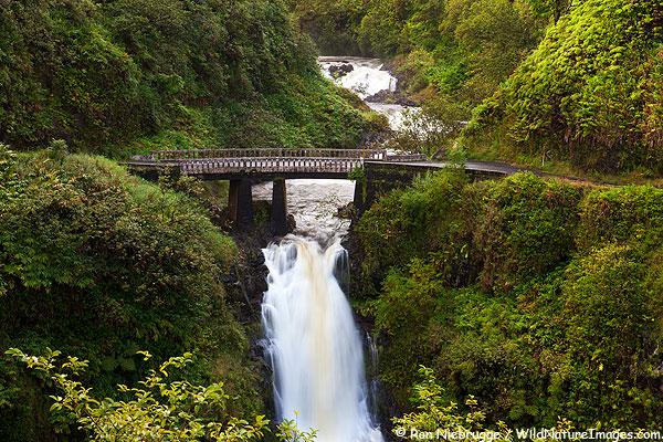 Waterfall along the Hana Highway, Maui, Hawaii.
