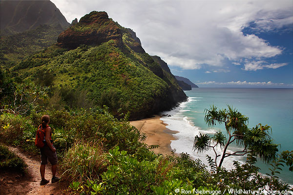 Janine on the Kalalau Trail, Na Pali Coast, Kauai, Hawaii.
