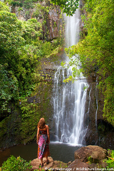 Janine at Wailua Falls, near Hana, Maui, Hawaii.