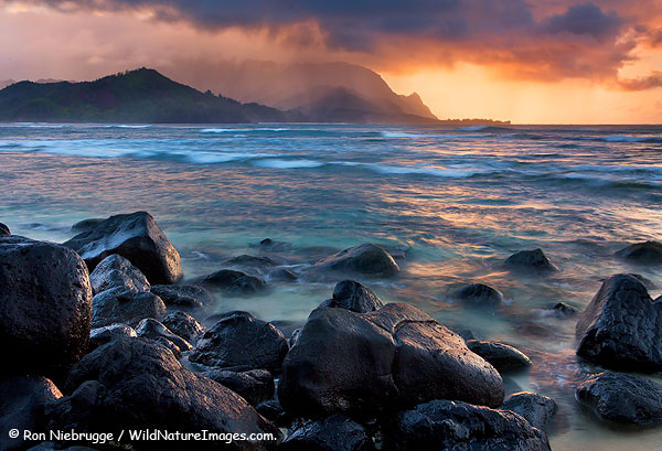 Looking towards the Na Pali Coast from Hanalei Bay, Kauai, Hawaii.