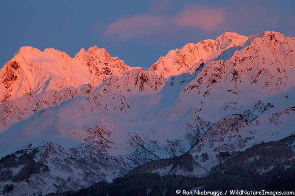 Winter mountains, Chugach National Forest, from Seward, Alaska.