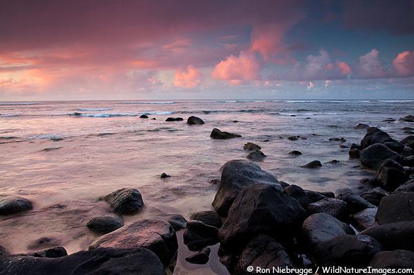 Sunset from Hanalei Bay, Kauai, Hawaii.