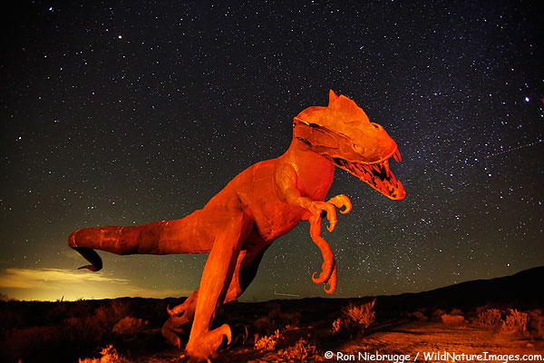Dinosaur sculpture against a night sky, Anza-Borrego, California.