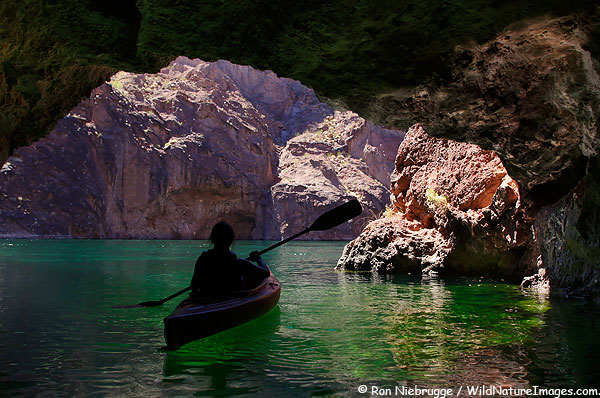 Janine kayaking in a cave on the Colorado River, Arizona.