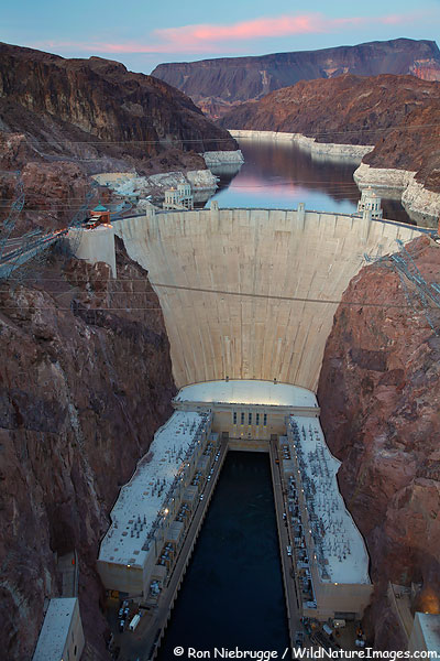 Hover Dam at sunset, Lake Mead NRA, Nevada / Arizona.