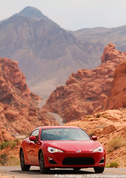Scion-FR-S seen during a commercial shot, Valley of Fire State Park, Nevada.