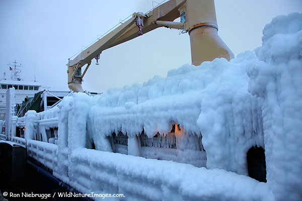 A cargo ship coated with thick ice, Seward, Alaska.